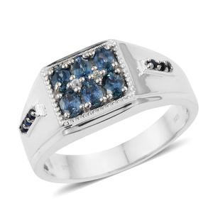 Montana Sapphire, Multi Gemstone Platinum Over Sterling Silver Men's Signet Ring (Size 10.0) TGW 1.57 cts.