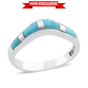 Santa Fe Style Kingman Turquoise Sterling Silver Wave Band Ring (Size 6.0) TGW 1.75 cts.
