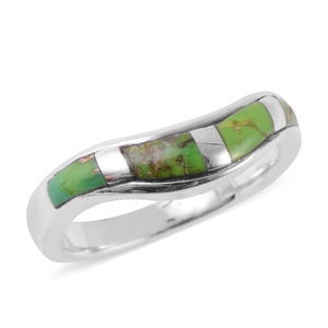 Santa Fe Style Mojave Green Turquoise Sterling Silver Wave Band Ring (Size 6.0) TGW 1.75 cts.