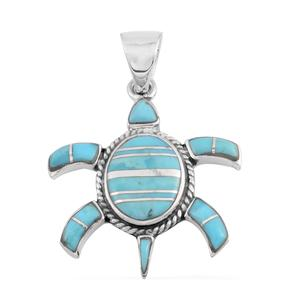 Santa Fe Style Kingman Turquoise Sterling Silver Turtle Pendant without Chain TGW 5.75 cts.