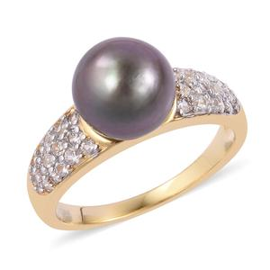 Tahitian Pearl (10-11 mm), White Zircon 14K YG Over Sterling Silver Ring (Size 7.0) TGW 0.93 cts.