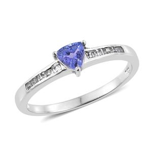 Premium AAA Tanzanite, White Topaz Platinum Over Sterling Silver Ring (Size 7.0) TGW 0.75 cts.