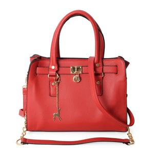 Karen's Host Pick Red Faux Leather Tote Bag with Shoulder Strap (13x4.3x9.6 in)