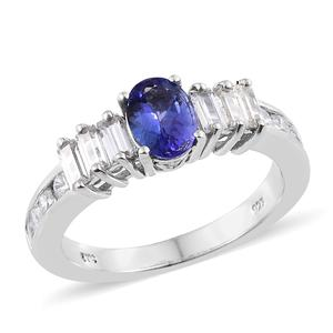 Premium AAA Tanzanite, Cambodian Zircon Platinum Over Sterling Silver Ring (Size 9.0) TGW 2.77 cts.