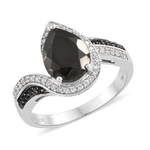 Shungite, Multi Gemstone Platinum Over Sterling Silver Ring (Size 7.0) TGW 2.37 cts.