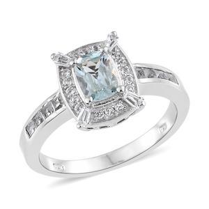 Espirito Santo Aquamarine, White Topaz Platinum Over Sterling Silver Ring (Size 7.0) TGW 1.64 cts.