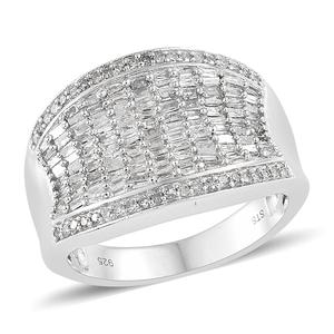 TLV Diamond Platinum Over Sterling Silver Ring (Size 5.0) TDiaWt 1.00 cts, TGW 1.00 cts.