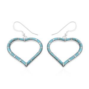 Santa Fe Style Kingman Turquoise Sterling Silver Heart Earrings TGW 3.00 cts.