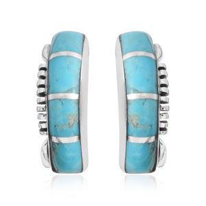 Santa Fe Style Kingman Turquoise Sterling Silver Stud Earrings TGW 1.50 cts.