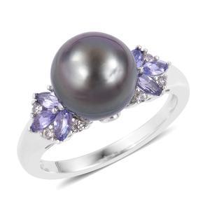 Tahitian Pearl (10-11 mm), Multi Gemstone Sterling Silver Ring (Size 7.0) TGW 0.71 cts.