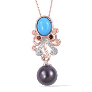 Tahitian Pearl (10-11 mm), Multi Gemstone Platinum and 14K RG Over Sterling Silver Octopus Drop Pendant With Chain (18 in) TGW 1.97 cts.