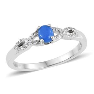 Ceruleite, Cambodian Zircon Platinum Over Sterling Silver Ring (Size 7.0) TGW 0.44 cts.