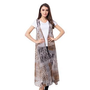 Brown 100% Polyester Animal Print Sleeveless Sheer Kimono (One Size)