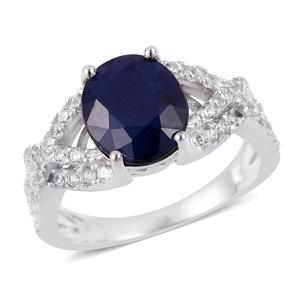 Customer Appreciation DOORBUSTER Madagascar Blue Sapphire, White Zircon Sterling Silver Ring (Size 7.0) TGW 5.18 cts.