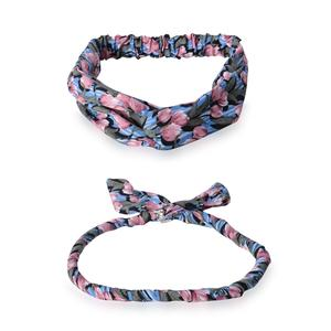 Purple 100% Polyester Flower Hairband (18x.75 in) and Necklace Scarf (18x.5 in)