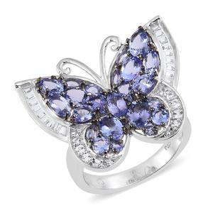 Tanzanite, White Topaz Platinum Over Sterling Silver Butterfly Ring (Size 5.0) TGW 5.46 cts.
