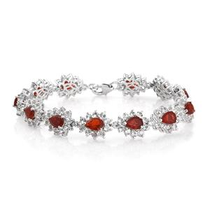 Crimson Fire Opal, White Topaz Platinum Over Sterling Silver Bracelet (7.25 In) TGW 18.10 cts.
