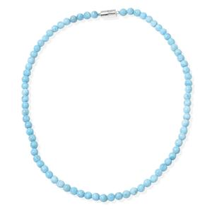 Larimar Beads Sterling Silver Magnetic Clasp Necklace (20 in) TGW 170.00 cts.