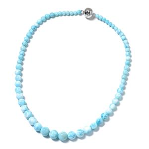 Larimar Beads Sterling Silver Magnetic Clasp Necklace (20 in) TGW 263.00 cts.