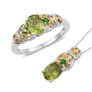 Hebei Peridot, Russian Diopside Vermeil YG and Platinum Over Sterling Silver Ring (Size 8) and Pendant With Chain (20 in) TGW 2.85 cts.