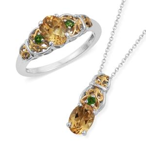 Brazilian Citrine, Russian Diopside 14K YG and Platinum Over Sterling Silver Ring (Size 6) and Pendant With Chain (20 in) TGW 2.60 cts.