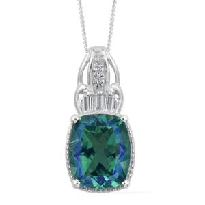 Peacock Quartz, White Topaz Platinum Over Sterling Silver Pendant With Chain (20 in) TGW 6.16 cts.