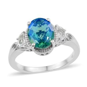 Peacock Quartz, White Topaz Platinum Over Sterling Silver Ring (Size 8.0) TGW 4.50 cts.