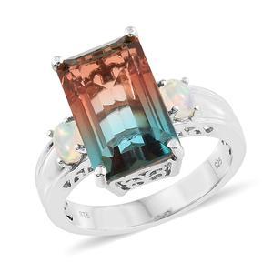 Aqua Terra Costa Quartz, Ethiopian Welo Opal Platinum Over Sterling Silver Ring (Size 7.0) TGW 11.00 cts.