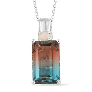 Aqua Terra Costa Quartz, Ethiopian Welo Opal Platinum Over Sterling Silver Pendant With Chain (20 in) TGW 10.65 cts.