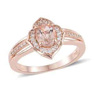 Marropino Morganite, Cambodian Zircon Vermeil RG Over Sterling Silver Ring (Size 10.0) TGW 1.40 cts.