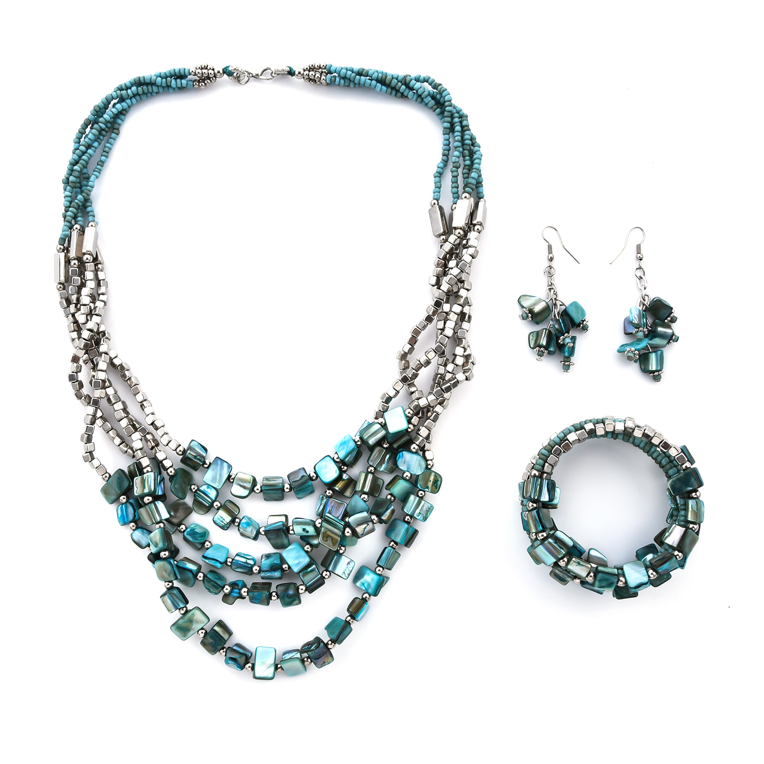 Blue Glass Beads Stainless Steel Earrings, Bracelet and Necklace