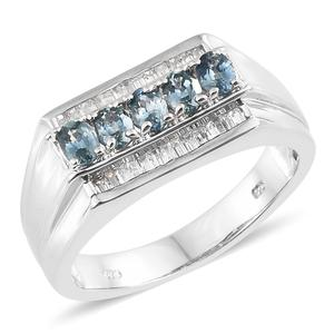 Montana Sapphire, Cambodian Zircon Platinum Over Sterling Silver Men's Signet Ring (Size 10.0) TGW 3.18 cts.
