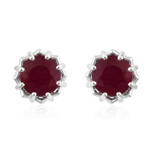 Niassa Ruby Platinum Over Sterling Silver Earrings TGW 7.74 cts.