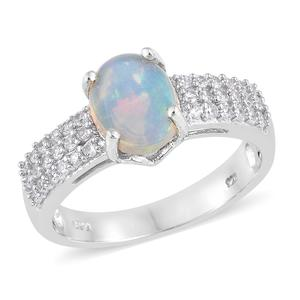 Ethiopian Welo Opal, Cambodian Zircon Platinum Over Sterling Silver Ring (Size 7.0) TGW 2.25 cts.