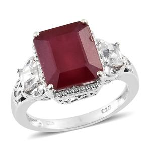 Niassa Ruby, White Topaz Platinum Over Sterling Silver Ring (Size 8.0) TGW 10.45 cts.