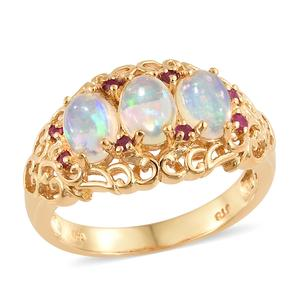 Ethiopian Welo Opal, Ruby Vermeil YG Over Sterling Silver Ring (Size 5.0) TGW 1.65 cts.