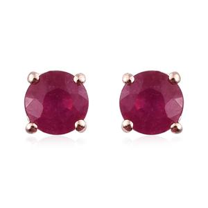 Niassa Ruby Vermeil RG Over Sterling Silver Round Stud Earrings TGW 1.44 cts.