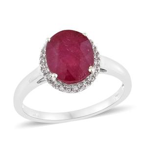 Niassa Ruby, Cambodian Zircon Platinum Over Sterling Silver Halo Ring (Size 7.0) TGW 4.63 cts.