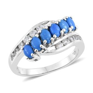 Ceruleite, Cambodian Zircon Platinum Over Sterling Silver Ring (Size 8.0) TGW 2.35 cts.