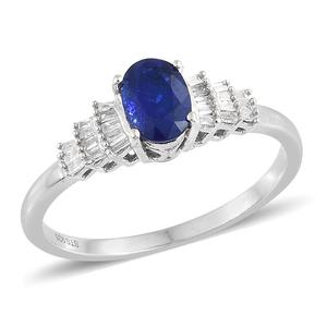 Blue Spinel, Diamond Platinum Over Sterling Silver Ring (Size 5.0) TDiaWt 0.15 cts, TGW 1.05 cts.