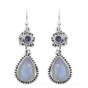 Artisan Crafted Rainbow Moonstone, Catalina Iolite Sterling Silver Earrings TGW 12.95 cts.