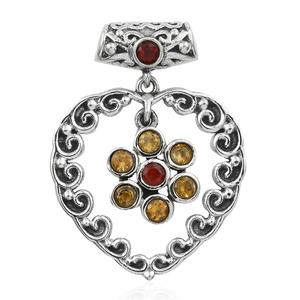 Artisan Crafted Cherry Fire Opal, Brazilian Citrine Sterling Silver Pendant without Chain TGW 0.45 cts.