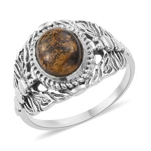 Artisan Crafted Golden Amphibolite Sterling Silver Dragonfly Ring (Size 7.0) TGW 2.44 cts.
