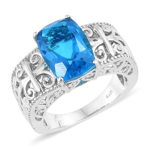 Caribbean Quartz Platinum Over Sterling Silver Openwork Ring (Size 6.0) TGW 7.30 cts.