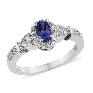 Premium AAA Tanzanite, Cambodian Zircon Platinum Over Sterling Silver Ring (Size 6.0) TGW 1.07 cts.
