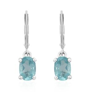 Madagascar Paraiba Apatite Platinum Over Sterling Silver Lever Back Earrings TGW 0.96 cts.