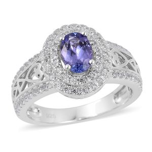 Premium AAA Tanzanite, White Zircon Platinum Over Sterling Silver Ring (Size 8.0) TGW 1.20 cts.
