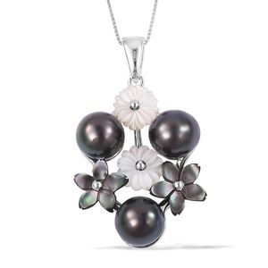 Tahitian Pearl (8.5-9 mm), Multi Gemstone Sterling Silver Floral Pendant With Chain (18 in)