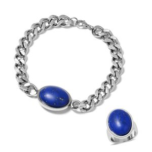 Lapis Lazuli Stainless Steel Men's Solitaire Bracelet (8.50in) and Ring (Size 9) TGW 10.00 cts.