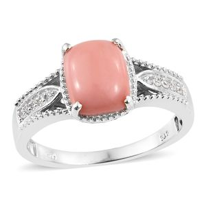 Oregon Peach Opal, Cambodian Zircon Platinum Over Sterling Silver Ring (Size 10.0) TGW 2.24 cts.